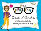 (Pi day)  Finding Area of a Circle: Chain of Circles - a 3-tiered activity