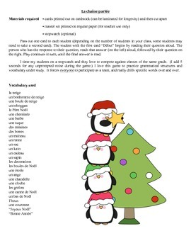 Chaîne parlée (Question & Answer Race Cards) - Noël
