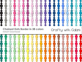 Chained Dots Digital Borders in 38 Colors - Clipart