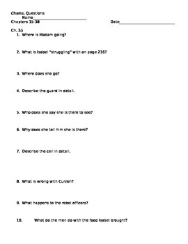 Chains Comprehension Questions Ch. 35-38