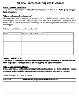 Foreshadowing worksheets pdf