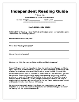 Chains Independent Reading Guide