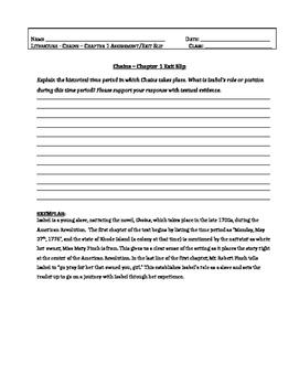 Chains, Laurie Halse Anderson-Chapter 1 Assessment Question/Exit Slip + EXEMPLAR