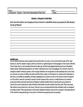 Chains, Laurie Halse Anderson-Chapter 3 Assessment Question/Exit Slip + EXEMPLAR