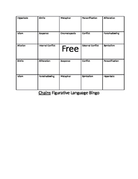 Chains by Laurie Halse Anderson Bingo Game