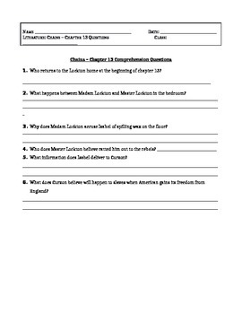 Chains, by Laurie Halse Anderson - Chapter 13 Comprehension Questions / Quiz