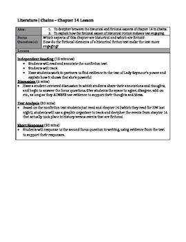 Chains by Laurie Halse Anderson- Chapter 14 + Nonfiction Lesson Plan + Worksheet