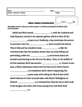 Chains, by Laurie Halse Anderson - Chapter 19 Fill in the Blanks Quiz