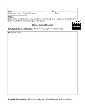 Chains, by Laurie Halse Anderson - Chapter 28 Close Reading Lesson & Worksheet