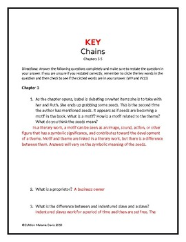 Chains by Laurie Halse Anderson/ Chapter 3-5  Comprehension Questions w/Key