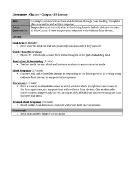 Chains, by Laurie Halse Anderson - Chapter 35 Close Reading Lesson & Worksheet