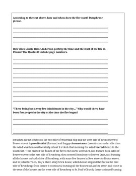Chains by Laurie Halse Anderson-Chapters 31 & 32 + Nonfiction Lesson + Worksheet