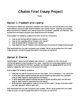 Chains by Laurie Halse Anderson Final Essay Assignment