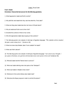 Chains by Laurie Halse Anderson Study Guide, Final Test, and Key--Editable!