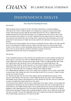 Chains by Laurie Halse Anderson Patriot v. Loyalist Debate
