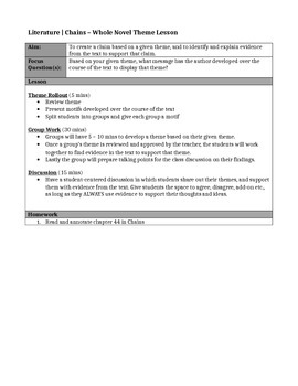 Chains, by Laurie Halse Anderson-Whole Novel THEME Lesson & Worksheet