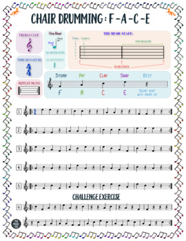 Chair Drumming Rhythms - IN TREBLE CLEF For Beginners (Grades 3-9)