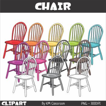 Chairs in Rainbow Colors - Clip Art