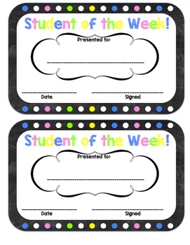 Chakboard dots student of the week certificate
