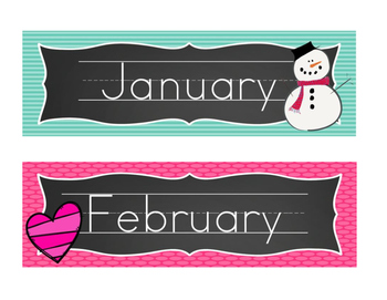 Chalboard Brights Days of the Week and Months of the Year Posters