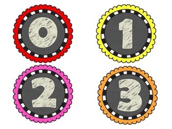 Chalboard Numbers 0-50 for Math Stations or Calendar Time
