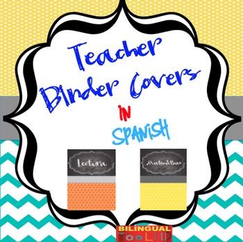 Chalkboard Teacher Binder Covers in Spanish