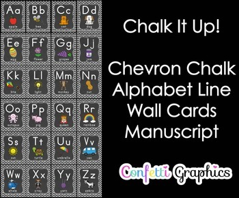 Alphabet Line Cards Posters Signs Chalkboard Chevron A-Z Alphabet Word Wall