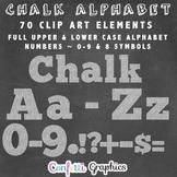 Chalk Alphabet Clip Art Upper Lower Case Alpha Numbers Symbols Chalkboard