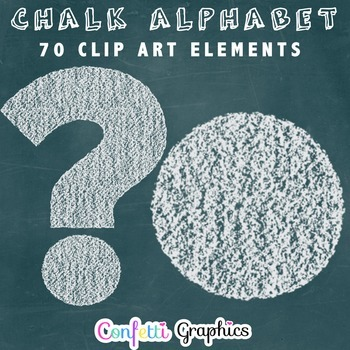 Chalk Alphabet Clip Art Upper Lower Case Alpha Numbers Symbols Chalkboard