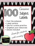 Chalk & Apple Cursive Subject Labels