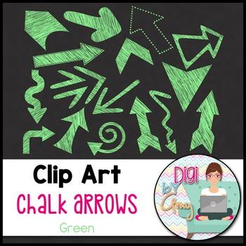 Chalk Arrows Clip Art - Green