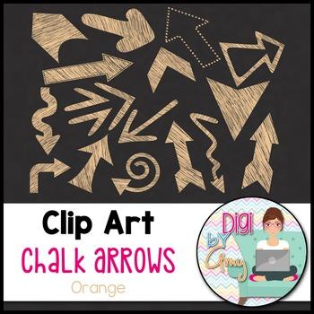 Chalk Arrows Clip Art - Orange