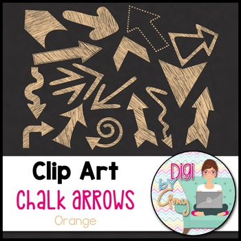 Chalk Arrows Clip Art - Orange