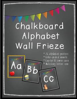 Chalk Board Alphabet Frieze Posters