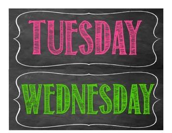 Chalk Board Days of the Week