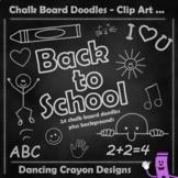 Back to School Clip Art Chalk Board Doodles and Chalkboard Background