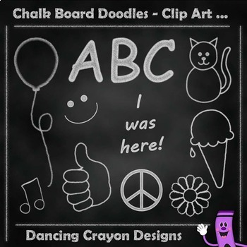 Back to School Clip Art Chalk Board Doodles and Chalkboard Background