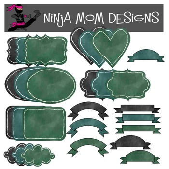 Chalk Board Style Frames and Banners Clip Art