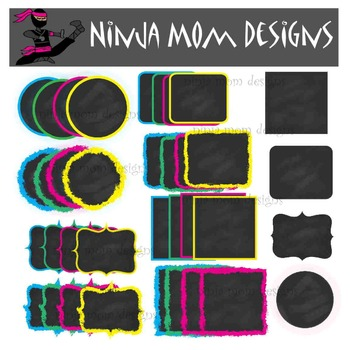 Chalk Board Style Frames and Labels Clip Art