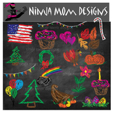 Chalk Board Style Holiday Clip Art