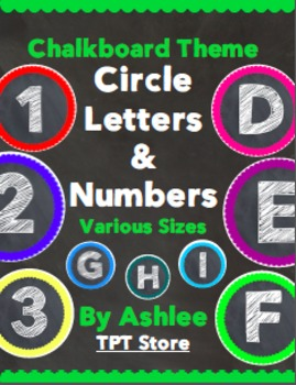 Chalk Board Theme Circle Letters and Numbers