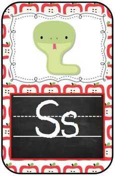Chalk Board and Apples Animal Alphabet ABC Flash Cards