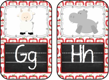 Chalk Board and Apples Animal Alphabet ABC Flash Cards