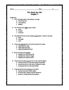 Chalk Box Kid Ch. 9 Quiz