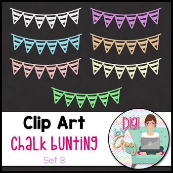 Chalk Bunting Clip Art Set 8