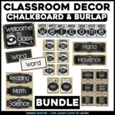 Chalk & Burlap Classroom Decor - Chalkboard, Burlap, Mason Jars ~Editable~