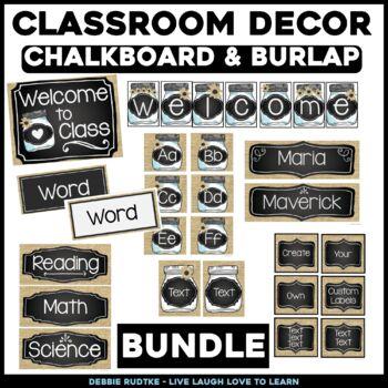 Chalk & Burlap Classroom EDITABLE Decor - Chalkboard, Burlap, Mason Jars