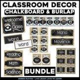 Chalk & Burlap Classroom EDITABLE Decor - Chalkboard, Burl