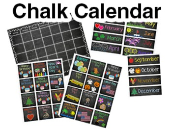 Chalk Calendar w/ Months and Holidays