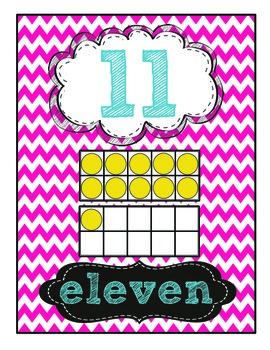 Chalk & Chevron 0-20 Number Posters